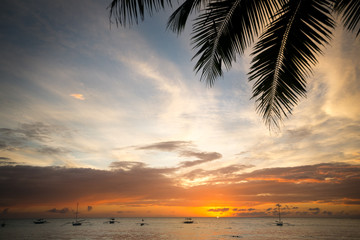 idyllic tropical beach with sunset