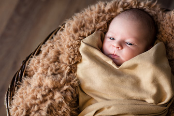 wrapped newborn lying in basket
