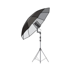 Umbrella for photography icon, cartoon style