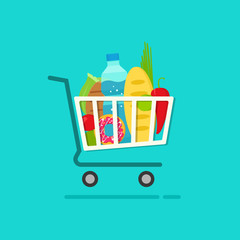 Grocery shopping cart with full of fresh products vector illustration isolated on blue, flat cartoon groceries shopping basket, concept of ecommerce trolley, retail, supermarket cart