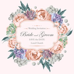 Wedding invitation with peony roses and succulents
