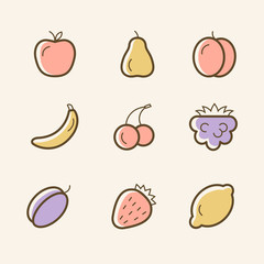Set of vector line icons of fruits