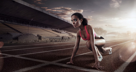 Sport. Runner on the start line