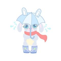 Bunny With Umbrella Under Rain