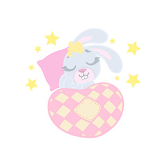 Bunny Sleeping In Bed