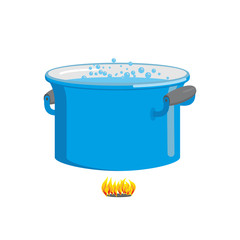 Pot of boiling water on fire. Cooking food. Blue cookware