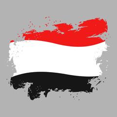 Yemen flag grunge style on gray background. Brush strokes and in