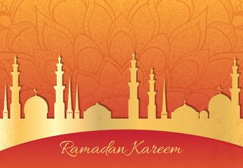 Ramadan Kareem greeting card.  Mosque silhouette vector illustration.
