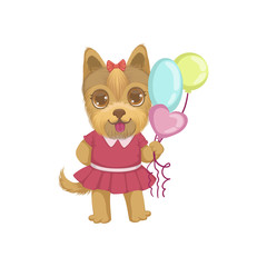 Puppy Holding Balloons
