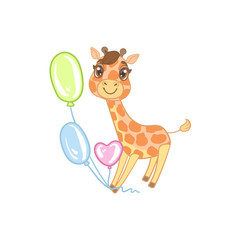 Giraffe With Balloons