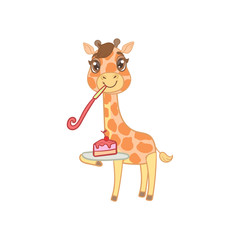 Giraffe With Slice Of Cake
