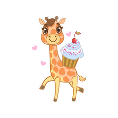 Giraffe With Cupcake