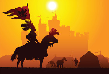 Equestrian knight with the castle on the background Wall mural