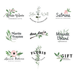 A set of logos with plants for photographers. Signs with flowers for wedding managers.