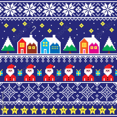 84a362423d8c Christmas jumper or sweater seamless pattern with Santa and houses ...