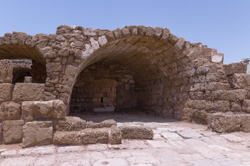 Fragment of buildings inside in the ruined city of Caesarea