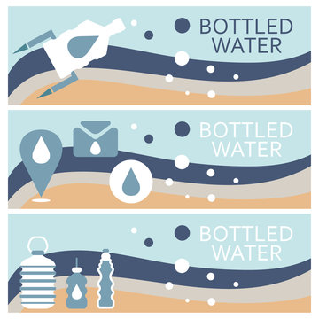 Set of banners for theme bottled water flat design. Vector illus