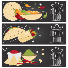 Set of banners for theme mexican cuisine with different tastes f