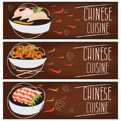 Set of banners for theme chinese cuisine with different tastes f