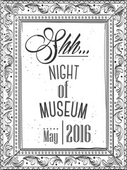 Hand drawn. Modern Invitation for the night in a museum in the frame for a picture