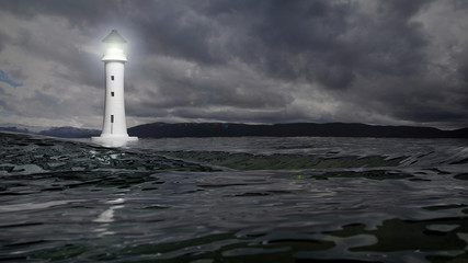 3D rendering of a lighthouse and sea waters on stormy day, seascape