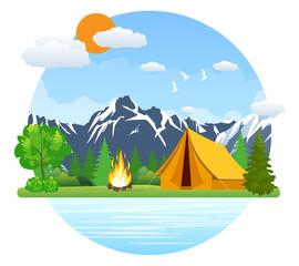 Summer landscape tent and bonfire
