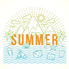 Line Style Flat Vector Color Summer Illustration with Isle, Ocean, Mountains, Palmtrees, Shell, Yacht and Travel Icons.