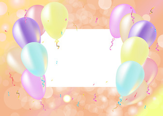 Party and celebration background with balloons, streamers, vecto