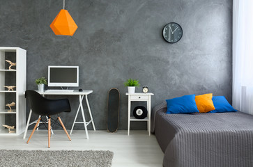 Grey room with little color
