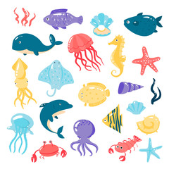 Set of different sea animals in cute cartoon style