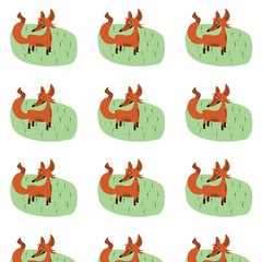 Cute fox pattern with green grass and flowers on white background