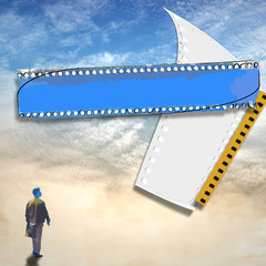 Cloudy sky with small figure and strip film frame in drawn style