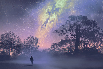man standing against the milky way above silhouetted trees,night sky,scenery illustration