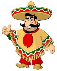 Cartoon Mexican man in a sombrero and poncho.