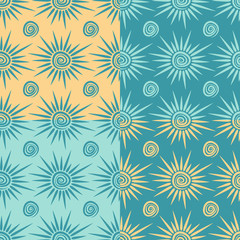 Set of vector seamless patterns with sun and spiral.