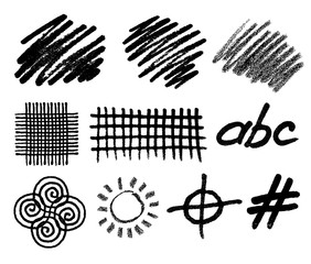 Wall Mural - Grunge hand drawn geometric vector elements for abstract backgrounds