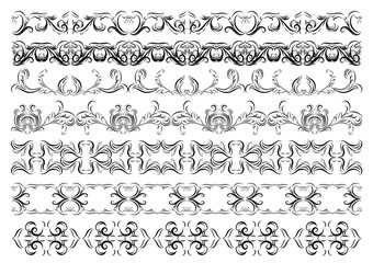 Antique vintage floral ornament set on white background. Vector