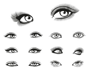 Vector woman eyes set