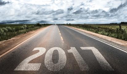 2017 written on rural road Fototapete