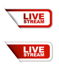 red vector set paper stickers live stream