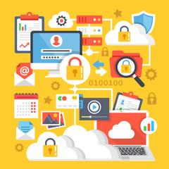 Cloud computing, data storage, internet technology data encryption creative concepts and icons set. Flat design vector illustration