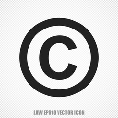 Law vector Copyright icon. Modern flat design.