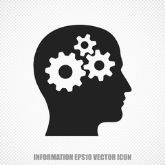 Data vector Head With Gears icon. Modern flat design.