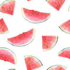 Seamless pattern with watermelon.Fruit picture.Watercolor hand drawn illustration.