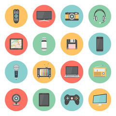 Flat icons set of multimedia and technology devices
