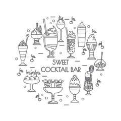 Set of color icons of sweet cocktails, desserts, ice cream.