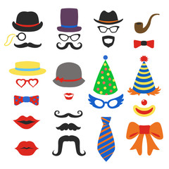 Birthday party vector photo booth props - Glasses, hats, lips, mustaches, ties and pipe
