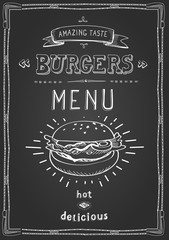 Burger poster menu sketch drawing on the chalkboard.