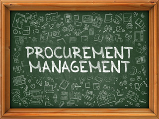 Procurement Management - Hand Drawn on Green Chalkboard with Doodle Icons Around. Modern Illustration with Doodle Design Style.