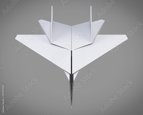 Model Paper Plane On Grey Background Origami Plane White Paper